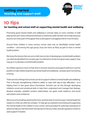Mental health and wellbeing: 10 tips for teaching and support staff