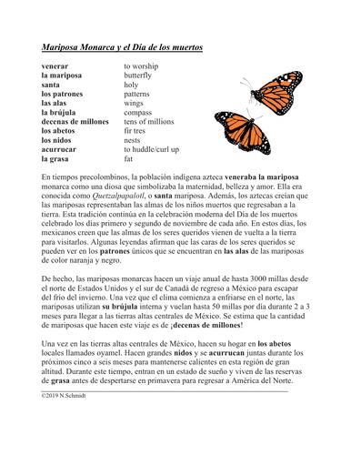 Mariposa Monarca y el Día de los Muertos Lectura y Cultura