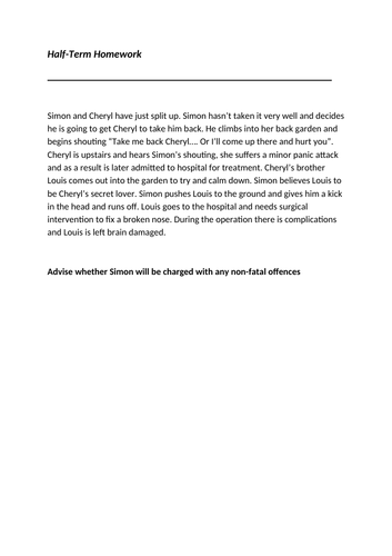 Homework - Law Scenario - Non-Fatal Offences
