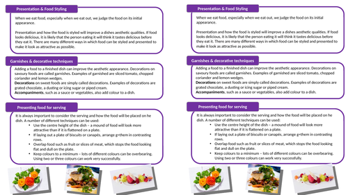 Year 9 GCSE Food Preparation & Nutrition Practical Skills S1 lesson 9 Presentation  & Food Styling