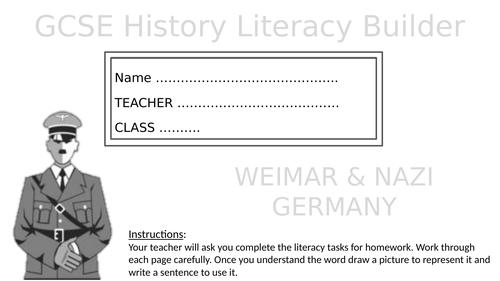 EDEXCEL GCSE History Literacy Builder Weimar and Nazi Germany - KS4 Cultural Capital
