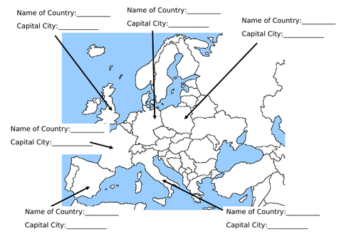 Geography EU & Capitals Worksheet