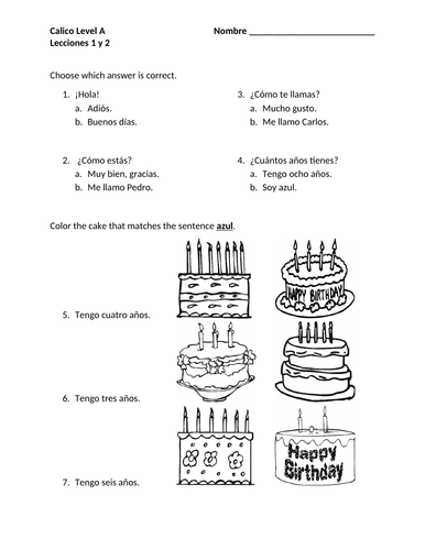Greetings, Name, How are you, Age in Spanish Worksheet