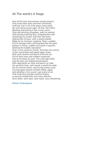 Poem-All The Word's A Stage by William Shakesperare