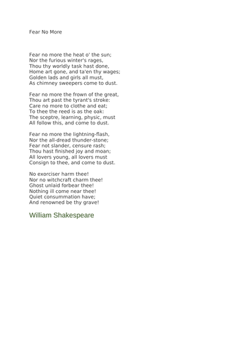Fear No More by William Shakespeare