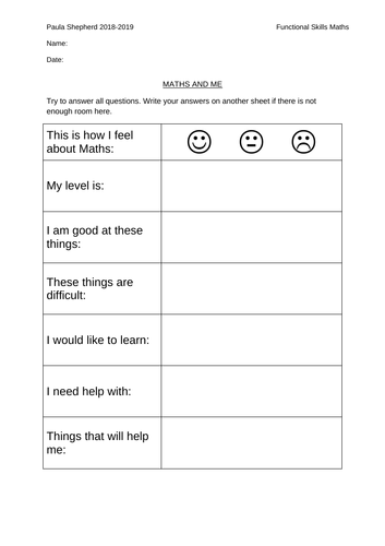 Maths and Me: Student Self-Evaluation