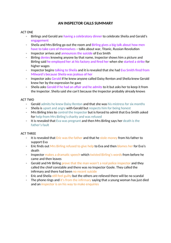 9-1 GCSE English Edexcel - An Inspector Calls Notes