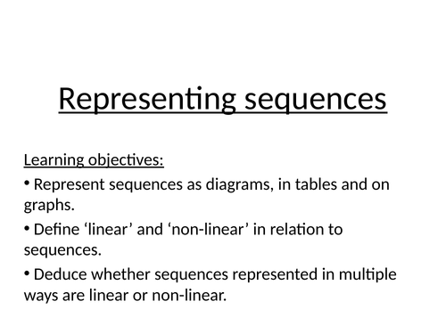 Representing sequences mastery lesson