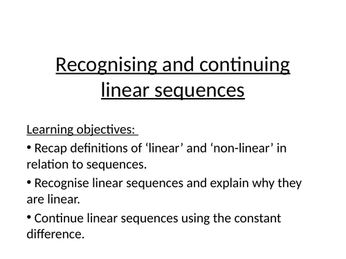 Linear sequences mastery lesson