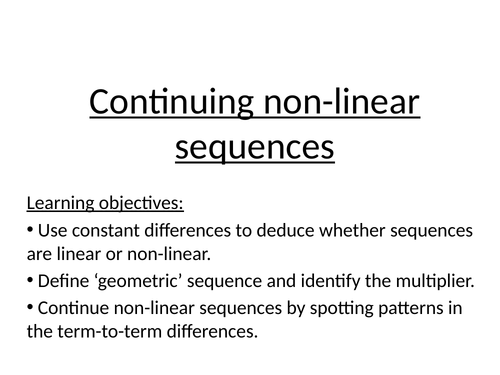 Nonlinear sequences mastery lesson