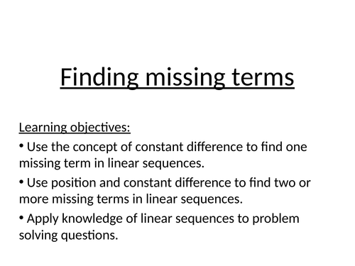Sequences missing  terms mastery lesson