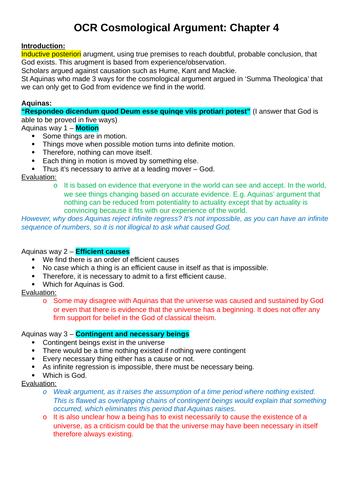 OCR A-level Religious Studies: Arguments From Observation Revision Notes