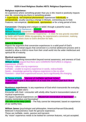 OCR A-level Religious Studies: Religious Experiences Revision Notes