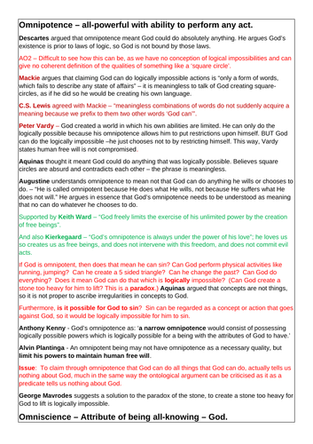 OCR A-level Religious Studies: Attributes of God Revision Notes