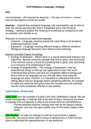 OCR A-level Religious Studies: Via Negativa, Analogy and Symbol Revision Notes