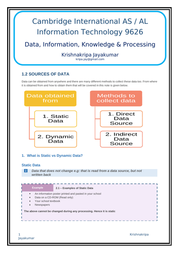 1 2 Sources of Data (CIE AS Level IT 9626) Notes