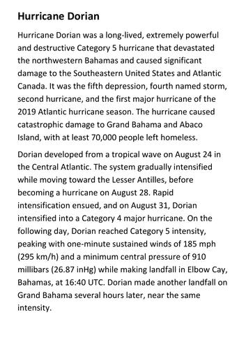 Hurricane Dorian Handout