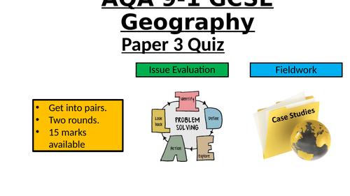 AQA GCSE PAPER 3 REVISION POP QUIZ (2019-20)