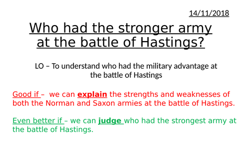 Armies at the Battle of Hastings