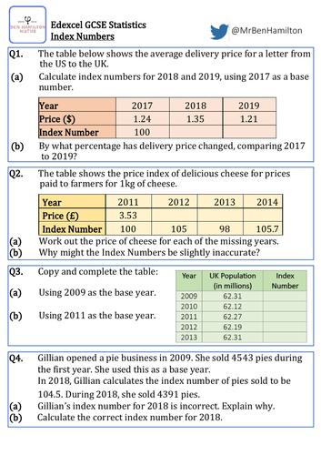 GCSE Statistics - Basic Index Numbers