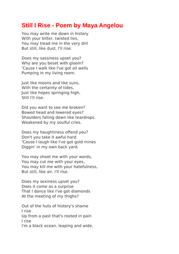 Still I Rise - Poem by Maya Angelou
