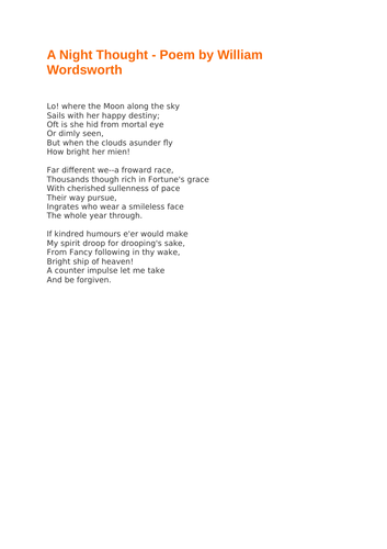 A Night Thought - Poem by William Wordsworth