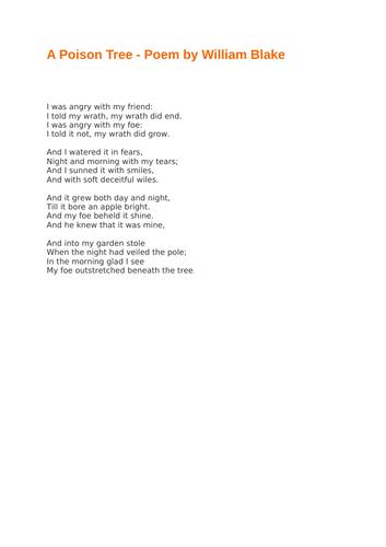 A Poison Tree - Poem by William Blake
