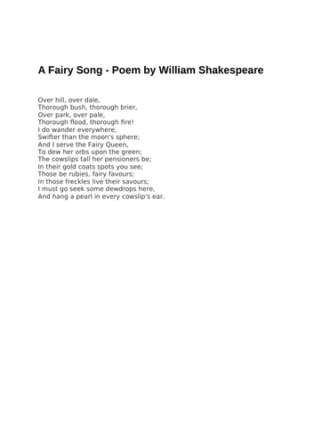 A Fairy Song - Poem by William Shakespeare