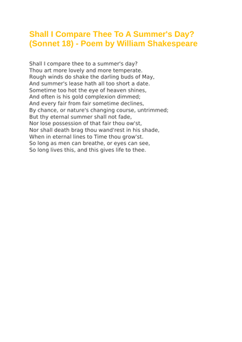 Shall I Compare Thee To A Summer's Day? (Sonnet 18) - Poem by William Shakespeare