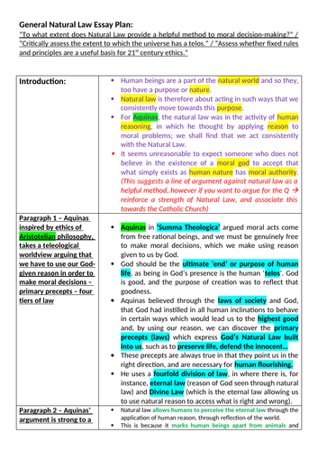 OCR A level Religious Studies - Natural Moral Law Essay Plan