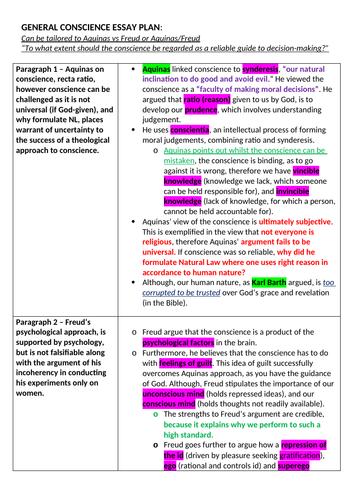 OCR A level Religious Studies - Conscience Essay Plan