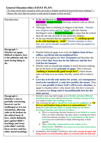 OCR A level Religious Studies - Situation Ethics Essay Plan