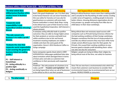 OCR A level Religious Studies - Business Ethics Essay Plan