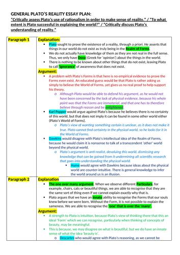 OCR A level Religious Studies : Philosophy of Religion - Ancient Philosophical Influences Essay Plan