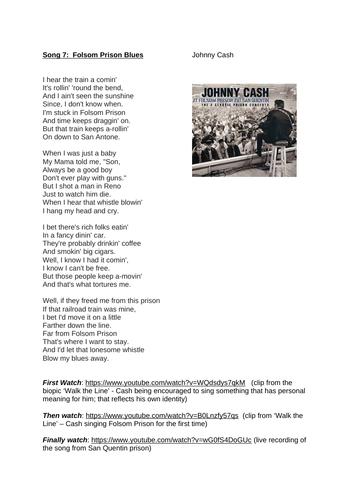 Johnny Cash Song Lyric Work