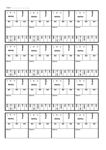 Seating plan template; Rows