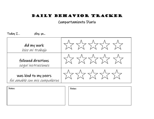 Behavior Trackers (English AND Spanish)