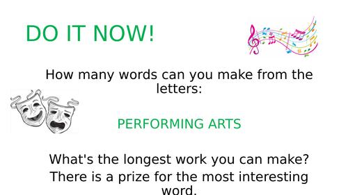 5 Drama Performing Arts DO NOW / Settler Tasks