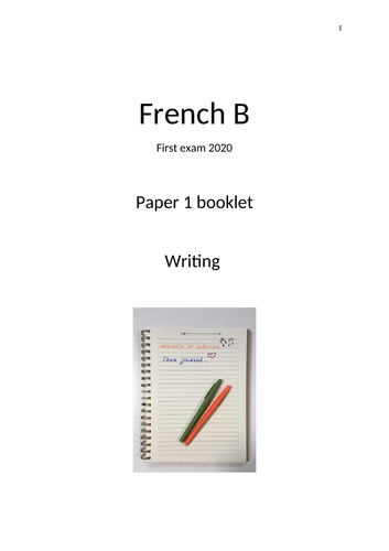 IB French B Paper 1 booklet