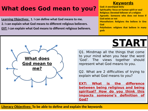 Yr7 RE Autumn Term Lesson 1 - What does God mean to you?