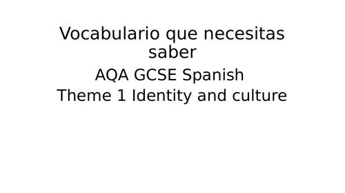 REVISION AQA GCSE Spanish - Theme 1- Reading and Listening