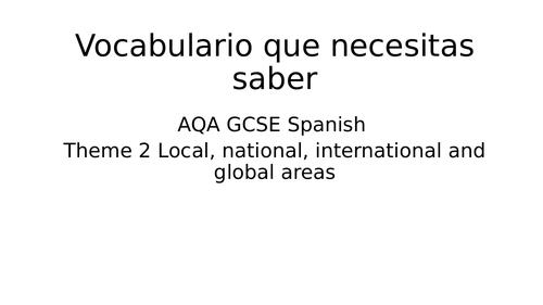Revision AQA GCSE Spanish - Theme 2 - Reading and Listening