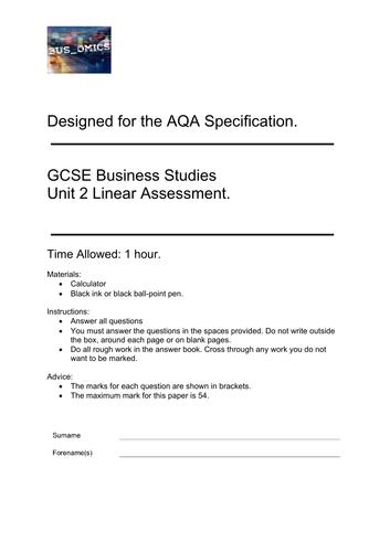 GCSE AQA Business Studies Assessment
