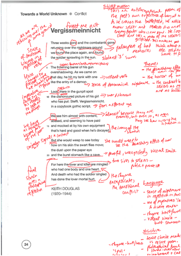 Honour Killing, Punishment, Partition, Phrasebook and Vergissmeinnicht OCR GCSE teacher annotated
