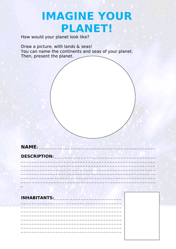 Writing - Imagine your planet (English / ESL)