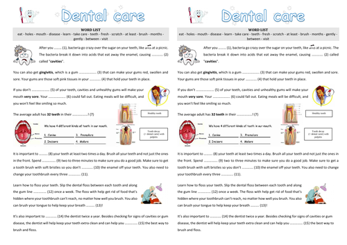 Written comprehension - Dental care (English / ESL)