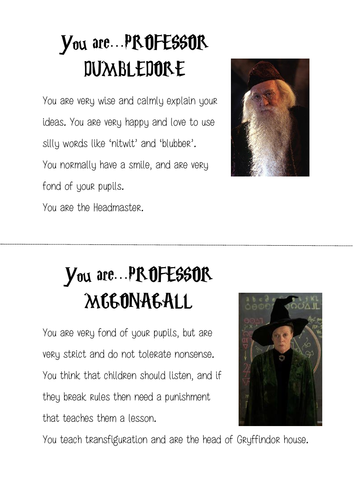 Role Cards for a Harry Potter lesson (see activity in description)