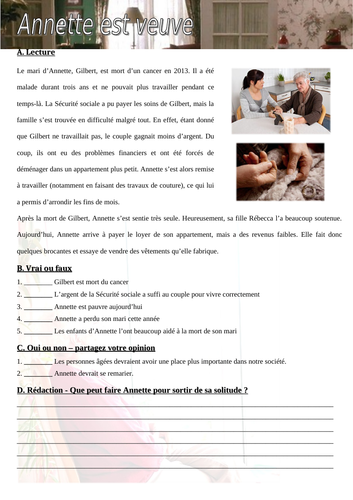 """""""Annette est veuve"""" - French comprehension and writing"""