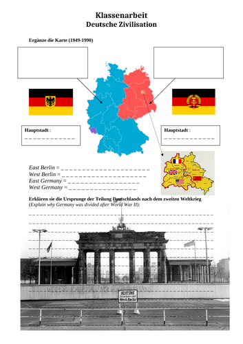 Ostdeutschland und Westdeutschland - East and West Germany - Map (German culture)
