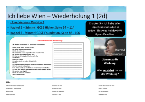 GCSE German - New Specification - Holidays and Transport - Revision of ich liebe Wien - Part 1